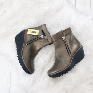 Fly London Yava Leather Wedge Brown Booties